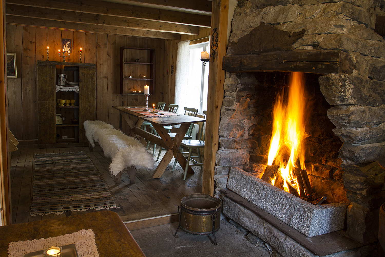 Old cabin with fireplace